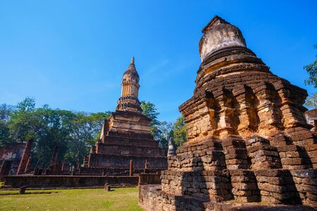 Wat Chedi Jet Thaew in the precinct of Si Satchanalai Historical Park, a site in Thailand.
