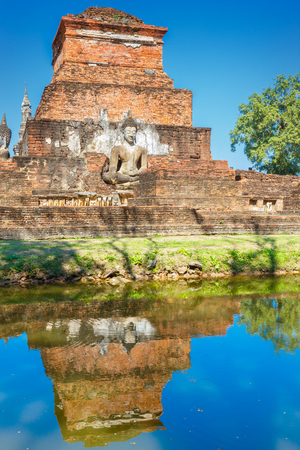 Wat Mahathat Temple at Sukhothai Historical Park, a UNESCO World Heritage Site in Thailand Stock Photo