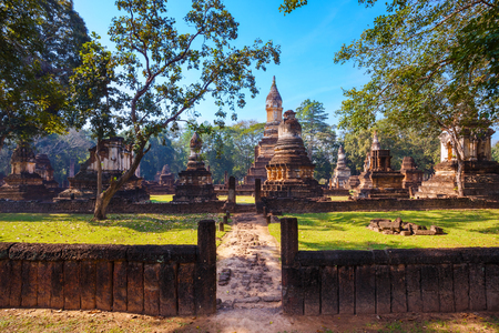 si: Wat Chedi Jet Thaew at Si Satchanalai Historical Park, a UNESCO World Heritage Site in Thailand Stock Photo