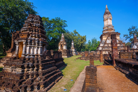 Wat Chedi Jet Thaew at Si Satchanalai Historical Park, a UNESCO World Heritage Site in Thailand Stock Photo