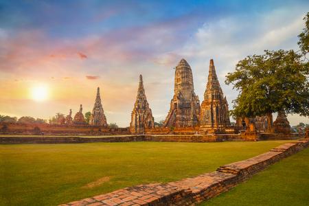 와트 Chaiwatthanaram 사원 아유타야 역사 공원, 유네스코 세계 문화 유산 사이트, 태국 스톡 콘텐츠