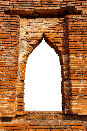 ayuthaya: Ancient Brick Window Frame of an Ancient Thai Temple Over White