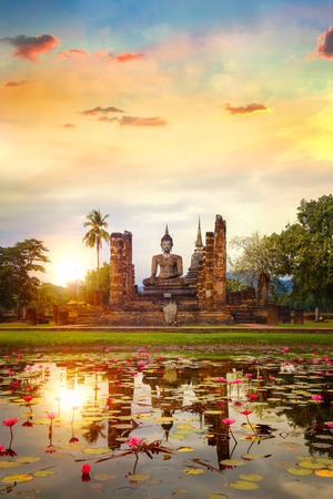 Wat Mahathat Temple in the precinct of Sukhothai Historical Park, a UNESCO World Heritage Site in Thailand  SUKHOTHAI, THAILAND - JANUARY 18 2017: Wat Mahathat Temple in the precinct of Sukhothai Historical Park, a UNESCO world heritage site. Editorial