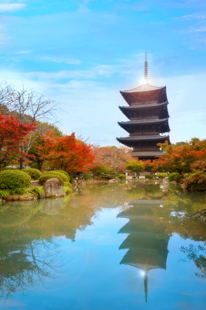 Colorful Autumn at Toji Temple in Kyoto, Japan