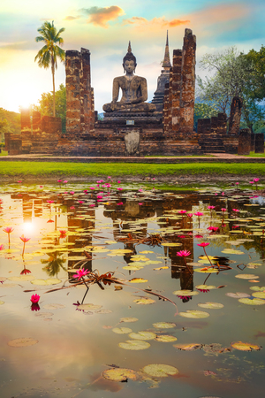 Wat Mahathat Temple at Sukhothai Historical Park, a UNESCO World Heritage Site in Thailand Editorial