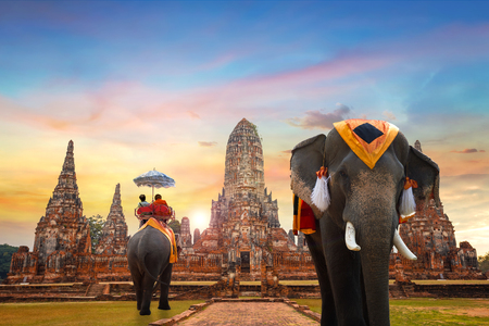 Elephnats at Wat Chaiwatthanaram temple in Ayuthaya Historical Park, a UNESCO world heritage site, Thailand Stock Photo