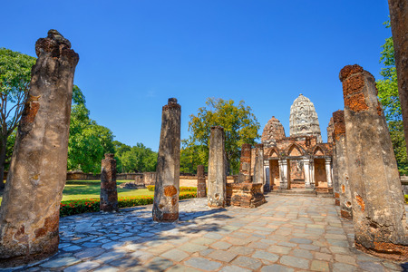 Wat Si Sawai Temple in the precinct of Sukhothai Historical Park, a UNESCO World Heritage Site  in Thailand  SUKHOTHAI, THAILAND - JANUARY 16 2017: Wat Si Sawai temple in the precinct of Sukhothai Historical Park, a UNESCO World Heritage Site Editorial