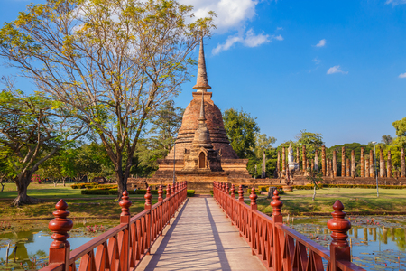 Wat Sa Si Temple in the precinct of Sukhothai Historical Park, a UNESCO World Heritage Site in Thailand  SUKHOTHAI, THAILAND - JANUARY 16 2017: Wat Sa Si temple in the precinct of Sukhothai Historical Park, a UNESCO World Heritage Site Editorial