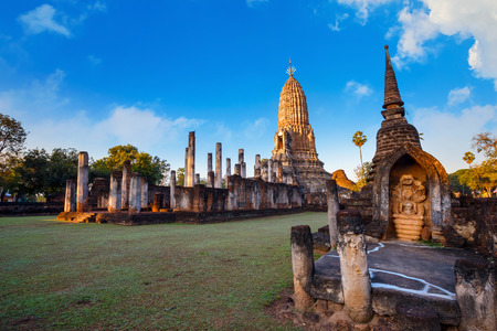 Wat Phra Si Rattana Mahathat - Chaliang in the precinct of Si Satchanalai Historical Park, a UNESCO World Heritage Site in Thailand  SUKHOTHAI, THAILAND - JANUARY 17 2017: Wat Phra Si Rattana Mahathat - Chaliang in the precinct of Si Satchanalai Historica