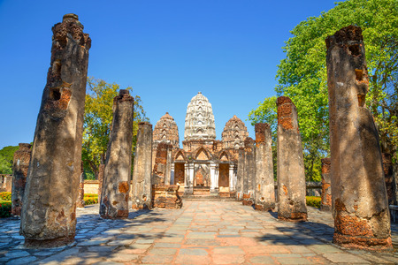 Wat Si Sawai Temple at Sukhothai Historical Park in Thailand 版權商用圖片