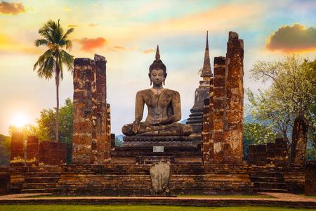 Wat Mahathat Temple at Sukhothai Thailand Stock Photo
