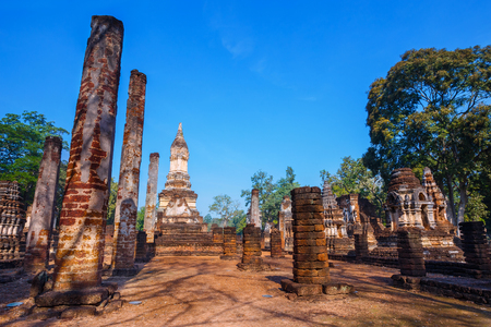 Wat Chedi Jet Thaew in the precinct of Si Satchanalai Historical Park, a UNESCO World Heritage Site in Thailand  SUKHOTHAI, THAILAND - JANUARY 17 2017: Wat Chedi Jet Thaew in the precinct of Si Satchanalai Historical Park, a UNESCO World Heritage Site in  Stock Photo