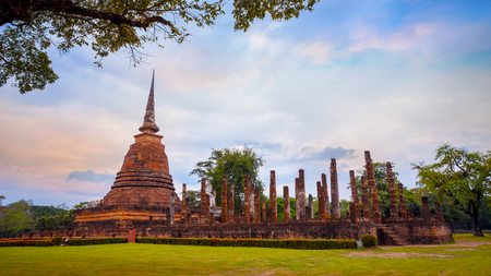 Wat Sa Si Temple  at Sukhothai Historical Park, a UNESCO World Heritage Site in Thailand Stock Photo