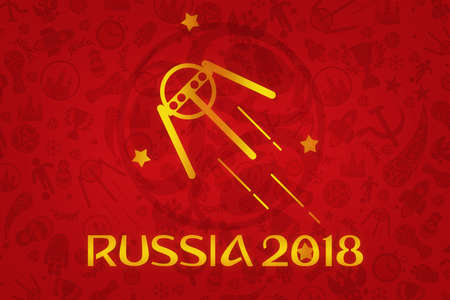 worl: World Cup Football 2018 Wallpaper - World Soccer Tournament in Russia Stock Photo