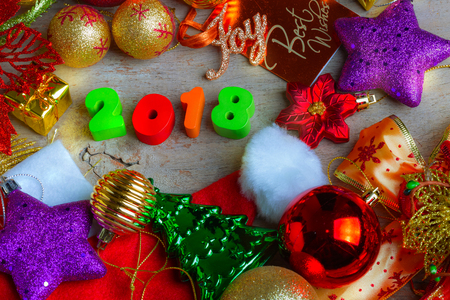 boxing day: Christmas and New Year Background With Decorations and Gift Boxes on Wooden Board Stock Photo