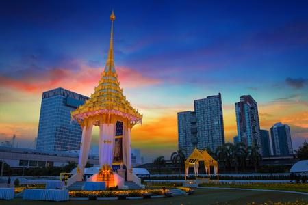 The replica of royal crematorium of His Majesty late King Bhumibol Adulyadej built for the royal funeral at BITEC - Bangkok International Trade and Exhibition Centre