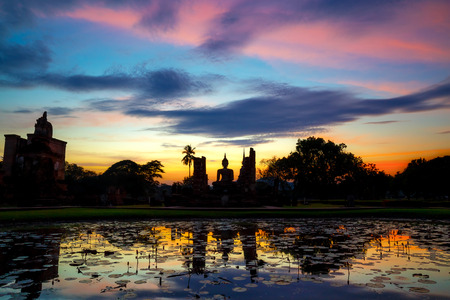 Wat Mahathat Temple at Sukhothai Historical Park Stock Photo
