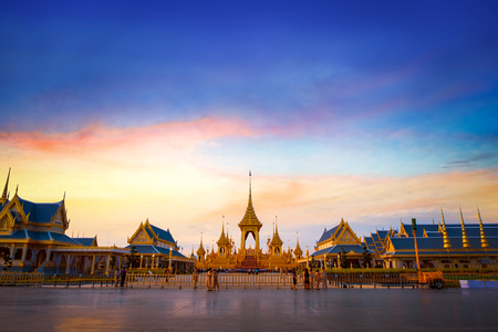 The Royal Crematorium of His Majesty King Bhumibol Adulyadej stands tall in Sanam Luang in front of the Grand Palace