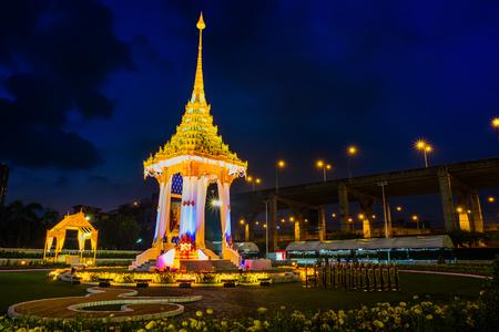 BANGKOK, THAILAND - OCTOBER 25 2017: The replica of royal crematorium of His Majesty late King Bhumibol Adulyadej built for the royal funeral at BITEC - Bangkok International Trade and Exhibition Centre