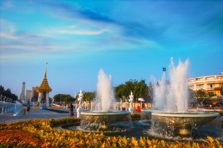 BANGKOK, THAILAND - OCTOBER 29 2017: The replica of royal crematorium of His Majesty late King Bhumibol Adulyadej built for the royal funeral at King Rama I Park nearby Rama I memorial bridge