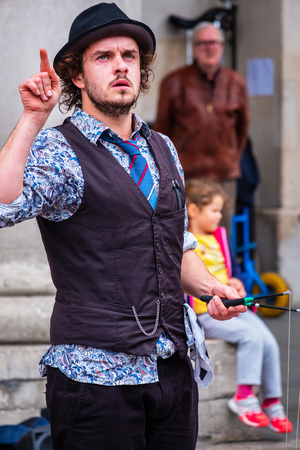 LONDON, UNITED KINGDOM - MAY 12 2018: Unidentified actor performs a street performance at Covent Garden Market