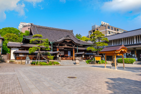 TOKYO, JAPAN - APRIL 20 2018: Sengakuji Temple famous for its graveyard where the 47 Ronin are buried. The story of the 47 loyal ronin remains one of the most popular historical stories in Japan Editorial