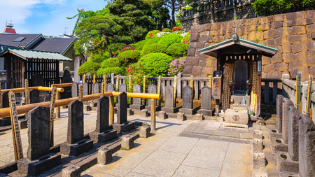 TOKYO, JAPAN - APRIL 20 2018: The grave of 47 ronin, the 47 loyal masterless samurai, one of the most popular Japanese historical epic legends at Sengakuji Temple