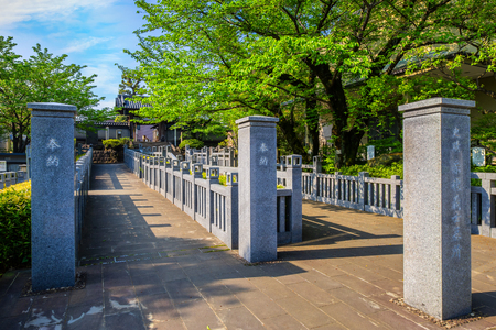 TOKYO, JAPAN - APRIL 20 2018: The way to the grave of 47 ronin, the 47 loyal masterless samurai, one of the most popular Japanese historical epic legends at Sengakuji Temple