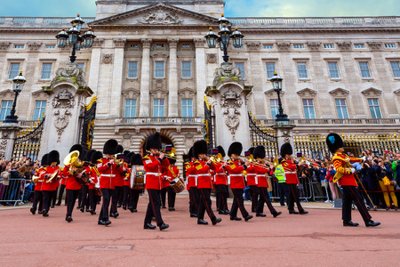 LONDON, UK - MAY 13 2018: The changing of the guard at Buckingham Palace - is a formal ceremony in which a group of soldiers is relieved of their duties by a new batch of soldiers