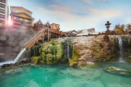 Yubatake Hotspring at Kusatsu Onsen in Gunma ,JapanGUNMA, JAPAN - APRIL 27 2018: Kusatsu Onsen located about 200 kilometers north-northwest of Tokyo, it is one of Japan's most famous hot spring resorts for centuries Redakční