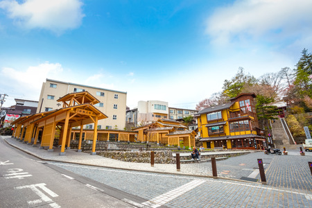 Yubatake Hotspring at Kusatsu Onsen in Gunma  ,JapanGUNMA, JAPAN - APRIL 27 2018: Kusatsu Onsen located about 200 kilometers north-northwest of Tokyo, it is one of Japan's most famous hot spring resorts for centuries