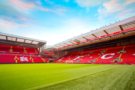 LIVERPOOL, UNITED KINGDOM - MAY 17 2018: Anfield stadium, the home ground of Liverpool FC which has a seating capacity of 54,074 making it the sixth largest football stadium in England