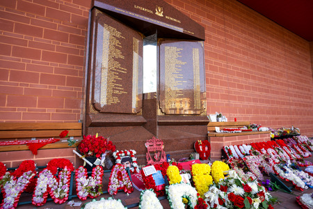 LIVERPOOL, UK - MAY 17 2018: Hillsborough memorial for the 96 victims in Hillsborough disaster constructed 2015 situated in a specially-designed garden in front of the Anfield stadium Main Stand