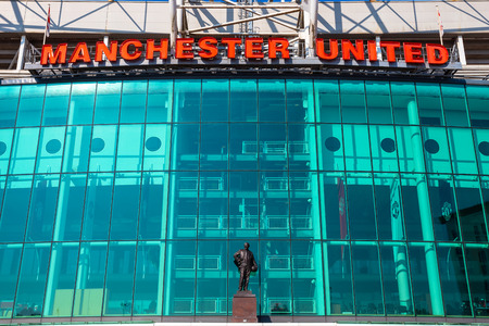 MANCHESTER, UK - MAY 19 2018: Old Trafford is  home of Manchester United. It's the largest club football stadium with a capacity of 74,994, has been United's home ground since 1910