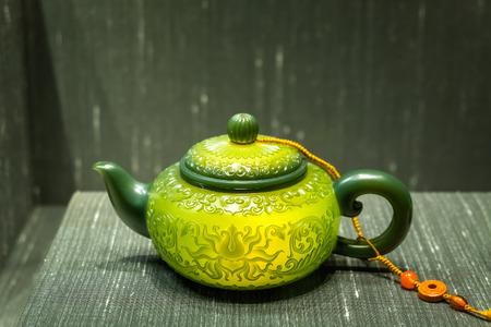 LONDON, UNITED KINGDOM - MAY 12 2018: Chinese jade teapot displayed ay Gallery of China and South Asia at British Museum Editorial