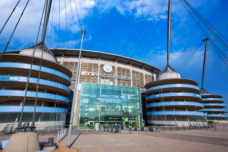 MANCHESTER, UNITED KINGDOM - MAY 19 2018: Manchester City Football Club founded in 1880 in Manchester, UK. which has the Etihad Stadium as its own home ground.