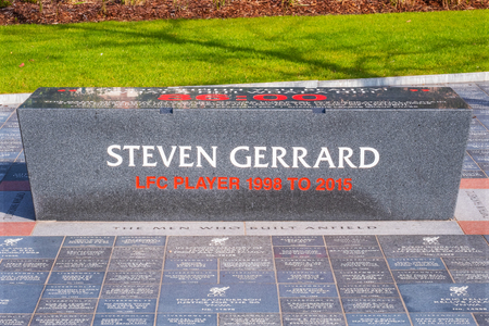 LIVERPOOL, UK - MAY 17 2018: Anfield Forever is a landscaped area that forms the walkway alongside the expanded Main Stand which people can buy their own personalised engraved granite stone Redactioneel