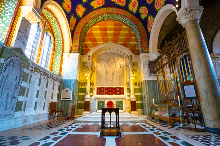 LONDON, UK - MAY 13 2018: The interior of Westminster Cathedral with the body of St. John Southworth, an English martyr in the 17th century Editorial