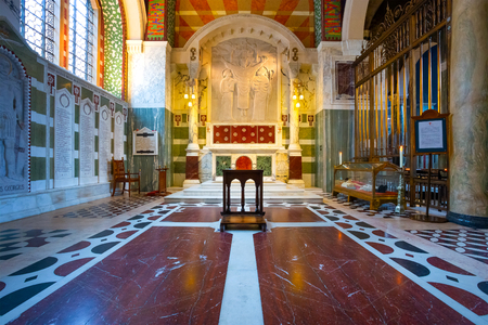LONDON, UK - MAY 13 2018: The interior of Westminster Cathedral with the body of St. John Southworth, an English martyr in the 17th century