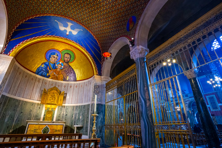 LONDON, UK - MAY 13 2018: Westminster Cathedral or the Metropolitan Cathedral of the Precious Blood of Our Lord Jesus Christ designed by John Francis Bentley and opened in 1903 in neo-Byzantine style 報道画像
