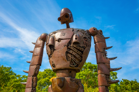 Tokyo, Japan - April 29 2018: Statue of the robot from the Studio Ghibli film Laputa: Castle in the Sky at Ghibli museum Editorial
