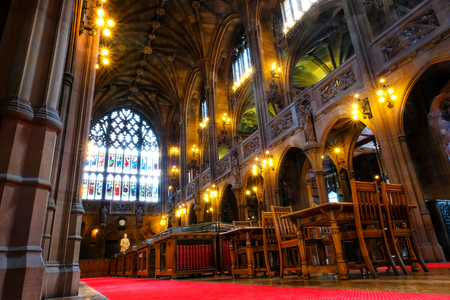 Manchester, UK - May 18 2018: John Rylands Library built in 1988 by Enriqueta Rylands, his wife after John's death, it's opened to public in 1900. The library houses some 4 millions invaluable books Editorial