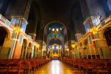 LONDON, UK - MAY 13 2018: Westminster Cathedral or the Metropolitan Cathedral of the Precious Blood of Our Lord Jesus Christ designed by John Francis Bentley and opened in 1903 in neo-Byzantine style
