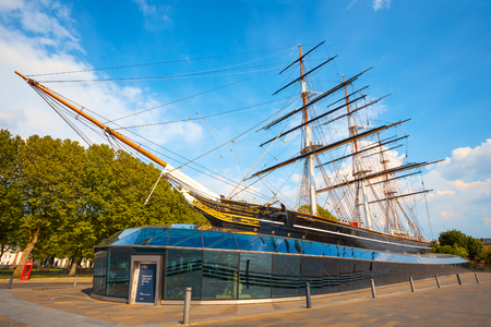 Cutty Sark, the historical tea clipper ship in Greenwich, London, UK London, UK - May 21 2018: Cutty Sark built in 1869, one of the last and fastest tea clippers, she was preserved as a museum ship, a part of the National Historic Fleet and a popular tour Editorial
