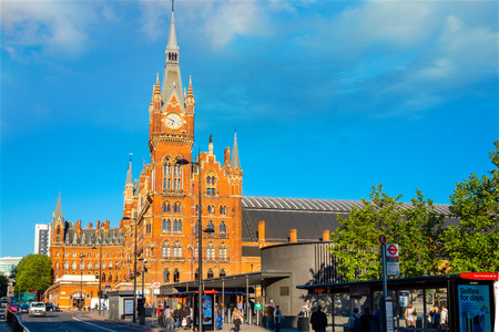London, UK - May 14 2018: St Pancras station is a central London railway terminus. It is the terminal station for Eurostar continental services from London to France, Belgium and Netherlands Editorial