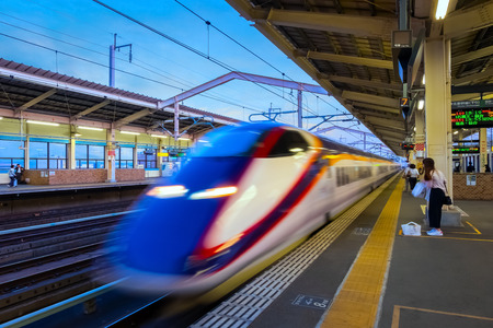 Sendai, Japan - April 21 2018: The E3 series  is a Japanese Shinkansen high-speed train type built for Komachi services runs in Tohoku region
