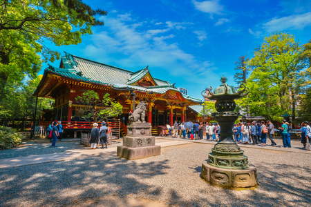 Tokyo, Japan - April 29 2018: Nezu Shrine established in 1705, one of the oldest worship places in the city, famous for its Azalea Festival held on from early April until early May