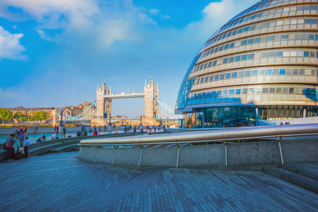 London, UK - May 14 2018: View of Tower bridge over the River Thames with the City Hall on the south bank of the River Thames Redakční
