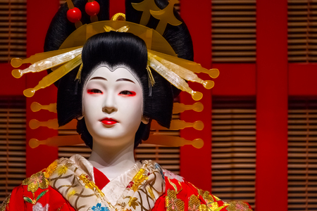 Tokyo, Japan - April 25 2018: Life size dolls portray traditional Japanese stage performance at Edo Tokyo Museum