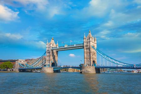 Tower Bridge that crosses River Thames in London, UK